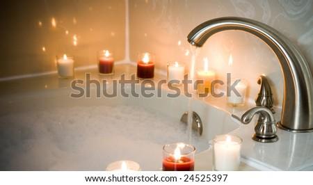 pouring a bubble bath - stock photo