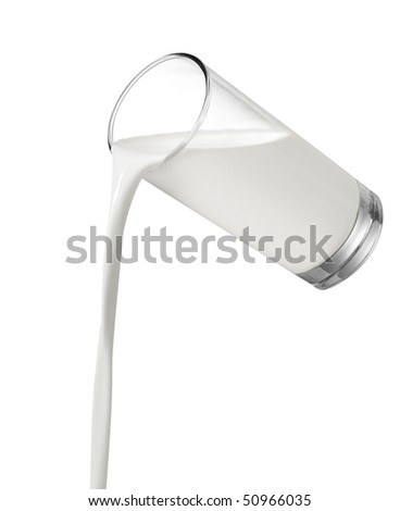 pouring a glass of milk on white background - stock photo