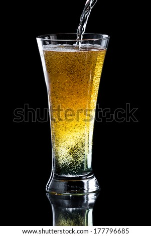 pouring an apple cider beer into a tall cold glass isolated on a black background