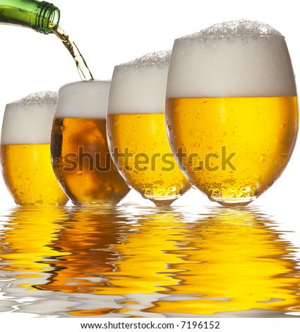 Pouring beer into four glasses with white background and reflection - stock photo