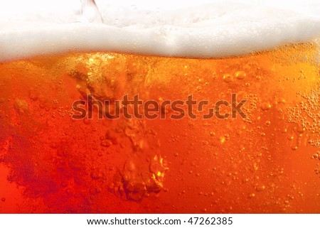pouring beer with froth. super large flat background - stock photo