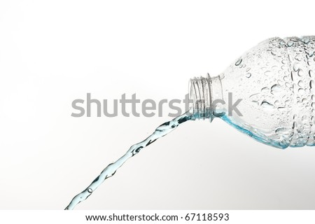 Pouring blue fresh water
