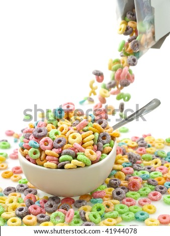 Pouring breakfast with box - stock photo