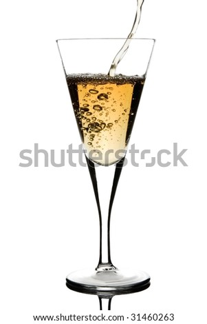 Pouring champagne. Clipping path.