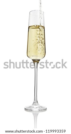 pouring champagne clipping path included