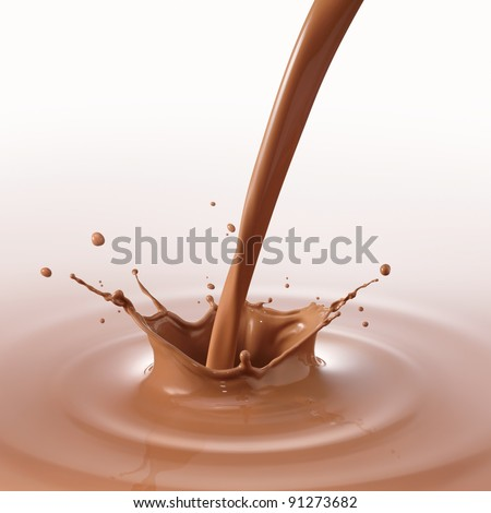 pouring chocolate drink created splash and ripple - stock photo