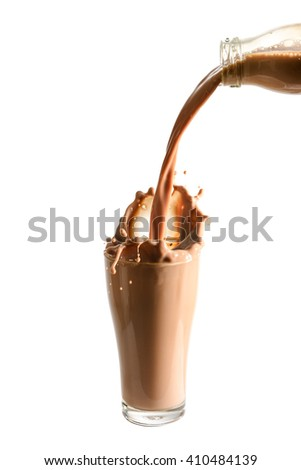 Pouring chocolate milk from bottle into glass with splashing., Isolated white background. - stock photo