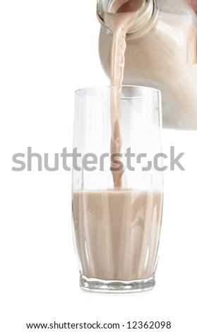 pouring chocolate milk on a glass