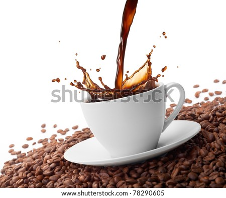pouring coffee creating splash surrounded by coffee beans - stock photo