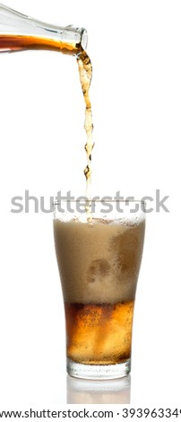 Pouring Coke into the Glass on White background - stock photo