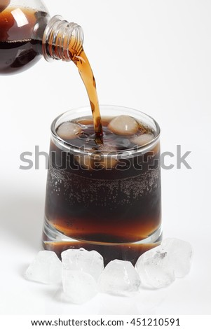 Pouring cola from plastic bottle into glass with ice cubes. Isolated on white background.
