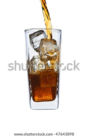 pouring cola in ice glass