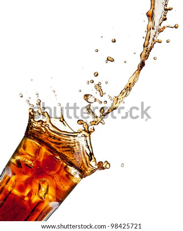 Pouring cola into glass, isolated on white background - stock photo