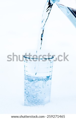 Pouring cold water into the glass
