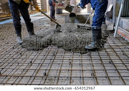 Pouring Concrete Slab Stock Photo (Royalty Free) 654312967   Shutterstock