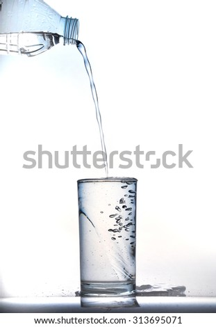 pouring cool water in glass on white background
