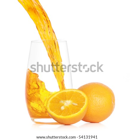Pouring fresh orange juice into a glass. Isolated on white background - stock photo