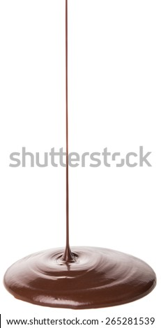 Pouring hot chocolate liquid over white background - stock photo