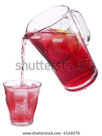 Pouring Lemonade - isolated on white - stock photo