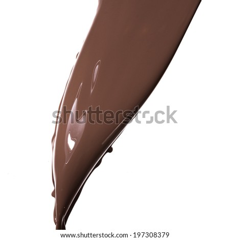 pouring melted chocolate on white background - stock photo