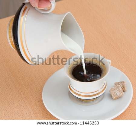 pouring milk from milk jug into cup with black coffee