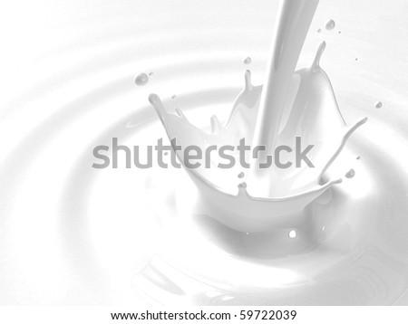 Pouring milk splash with copyspace - stock photo