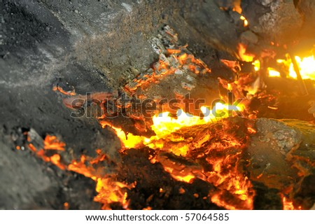 pouring molten steel - stock photo