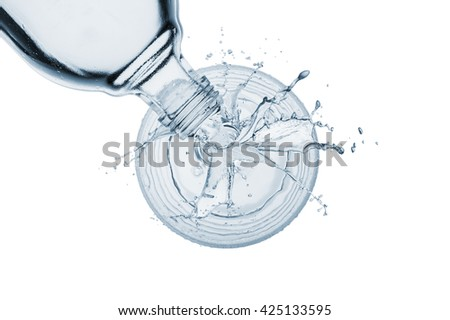 pouring natural water on glass with splashing