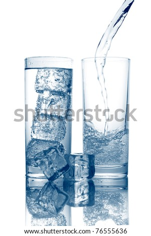 Pouring of fresh cool water in a glass isolated on white background