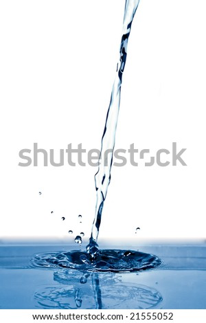 pouring of water isolated over white - stock photo