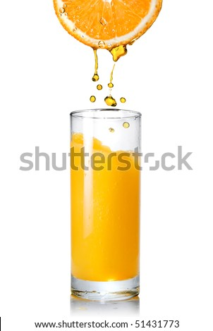 Pouring orange juice from orange into the glass isolated on white