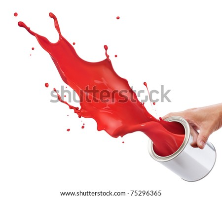 pouring red paint from its bucket creating splash - stock photo
