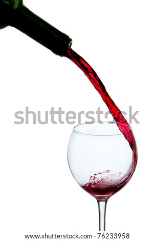 pouring red wine from bottle into glass