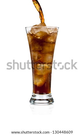 Pouring soda cola in a glass with ice isolated on white background
