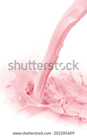 pouring strawberry milk, isolated on white background