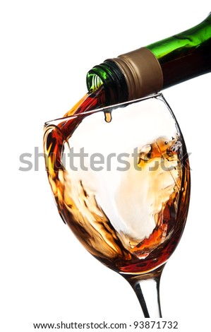 Pouring unusual beverage isolated on a white background. collection of colored drinks.