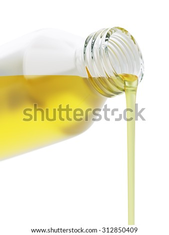 Pouring vegetable oil out of a glass bottle