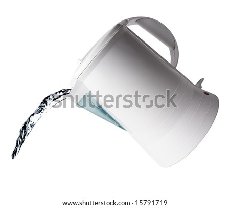 Pouring water from an electric kettle isolated on white - stock photo