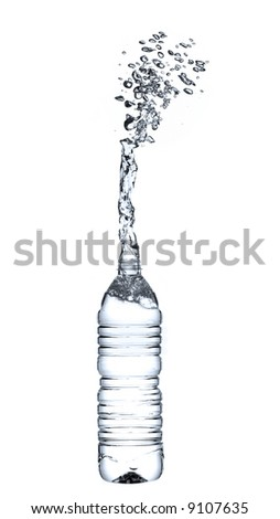 pouring water from bottle - stock photo