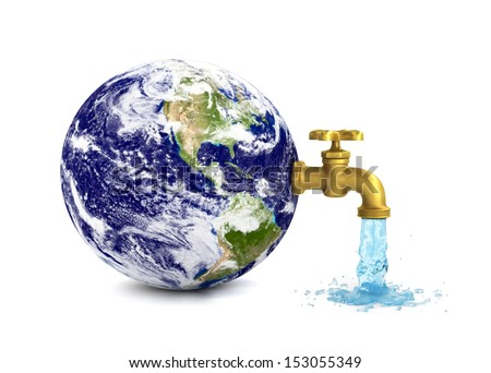 Pouring water from earth - eco concept. Elements of this image furnished by NASA - stock photo