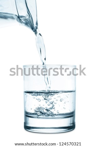 pouring water glass on white background