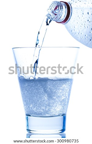 pouring water in an elegant glass with ice and water drops on white background