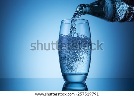 pouring water in to a glass