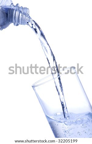 Pouring water into glass on white background
