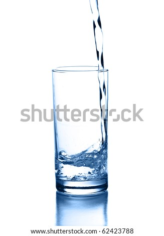 pouring water isolated on a white background