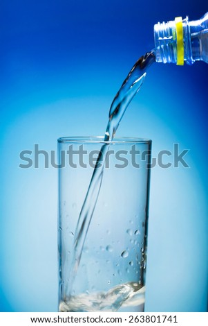 pouring water on a glass on blue background