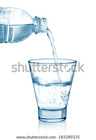pouring water on a glass on white background.