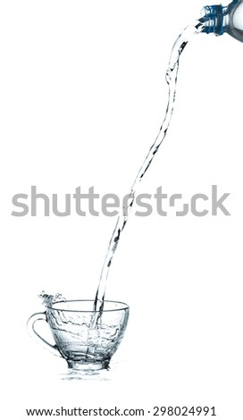 pouring water splash into glass isolated on white background