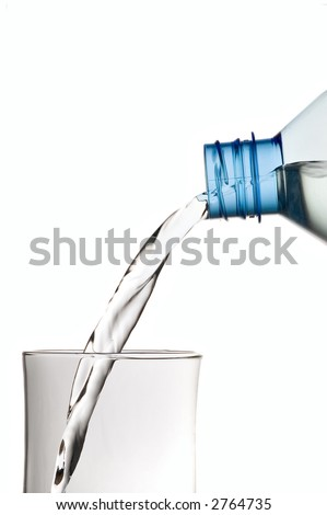 pouring water to glass, isolated on white