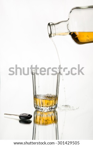 Pouring whiskey missed the glass. Isolated, car key in the frame, white background. Drink responsibly; Drink aware; Don't drink and drive.  - stock photo